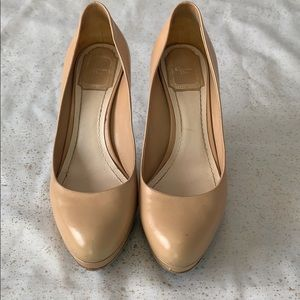 Auth Dior nude leather round toe pump